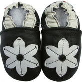carozoo pop flower black 0-6m soft sole leather baby shoes