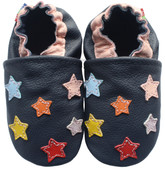 carozoo colorful stars dark blue 0-6m soft sole leather baby shoes