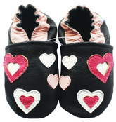 carozoo pink hearts black 0-6m soft sole leather baby shoes