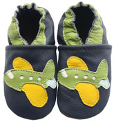 carozoo green airplane dark blue 0-6m soft sole leather baby shoes