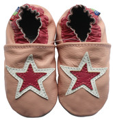 carozoo double stars pink 0-6m soft sole leather baby shoes