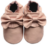 carozoo bow fringe pink 0-6m soft sole leather baby shoes