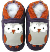 carozoo owl purple 12-18m soft sole leather baby shoes