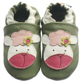 carozoo lamb light green 6-12m soft sole leather kids slippers shoes socks