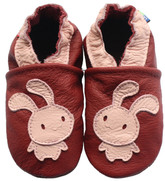 carozoo pink bunny dark red 12-18m soft sole leather baby shoes socks slippers