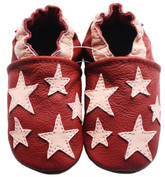 carozoo five star dark red 0-6m soft sole leather toddlers slippers shoes socks