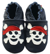 carozoo pirate dark blue 6-12m soft sole leather baby shoes