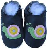 shoeszoo snail black 0-6m S new soft sole leather baby shoes