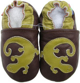 carozoo gecko brown 0-6m soft sole leather baby shoes slippers