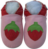 shoeszoo pink strawberry 0-6m S soft sole leather baby shoes