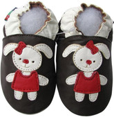 shoeszoo rabbit brown 0-6m S soft sole leather baby shoes