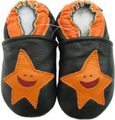 carozoo starfish black 0-6m soft sole leather baby shoes