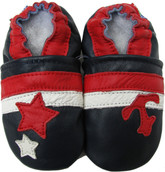 carozoo star anchor dark blue 0-6m soft sole leather baby shoes