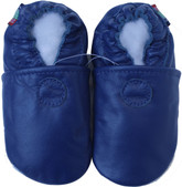 carozoo solid blue 0-6m soft sole leather baby shoes