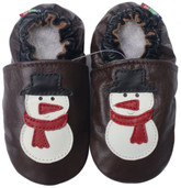 soft sole leather baby shoes snowman dark brown 0-6m