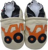 carozoo forklift cream 0-6m soft sole leather baby shoes