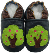 carozoo apple tree navy 0-6m soft sole leather baby shoes