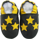 soft sole leather baby shoes 3 stars dark blue 0-6m S
