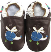 shoeszoo helicopter dark brown 0-6m S soft sole leather baby shoes