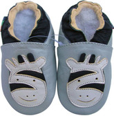 shoeszoo zebra silver grey 0-6m S soft sole leather infant baby shoes