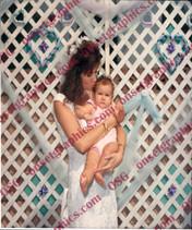 1980's Bride Holding Baby