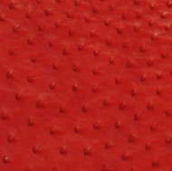 Ostrich Skin Leather - FLAME RED SF - 17.2222 sq ft - Grade 1