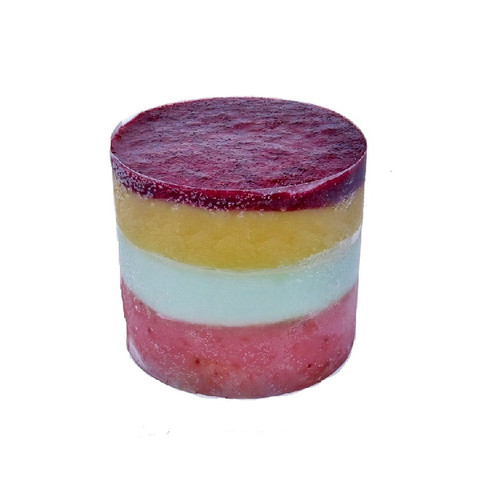 Tropical Tower, made with layers of Strawberry, Green Apple, and Mango Puree Sorbet, topped with Mixed Berry Puree. Made with real fruit!