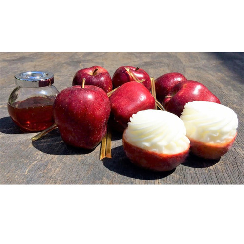 Red Apple Sorbet, made from freshly pureed apples, served in its original shell. Comes with Honey Sticks!