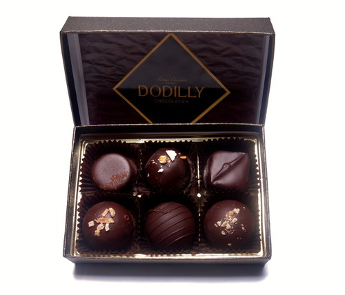 Small Luxe Chocolate Gift Box holding 6 chocolates including Jewels or  Truffles