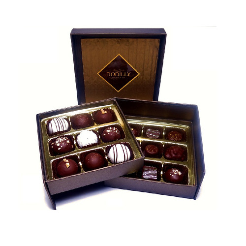 Small Brown Signature Chocolate Gift Box holding 18 assorted chocolates including Jewels and  Truffles
