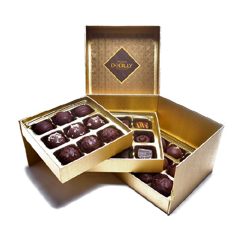Medium Gold Signature Chocolate Gift Box holding 27 assorted chocolates including Jewels and  Truffles