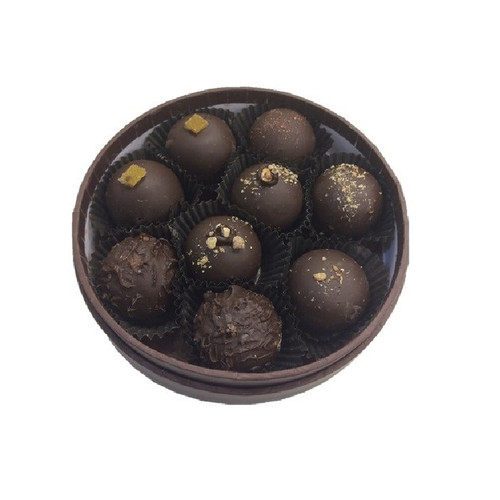 Open Round Truffle Gift Box holding 9 assorted chocolate truffles.