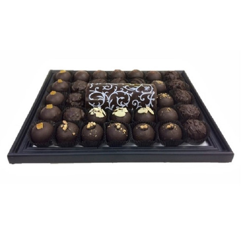 """Chocolate Platter with an assortment of Chocolate Truffles and a 5"""" Chocolate Log."""
