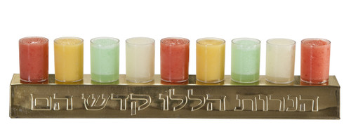 Menorah Filled with Mango, Strawberry, Lemon, and Green Apple Sorbets. Made with real fruit!