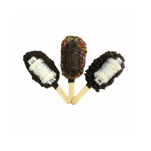 Assorted Torah Crisp Pops with a variety of toppings and chocolate Torah.