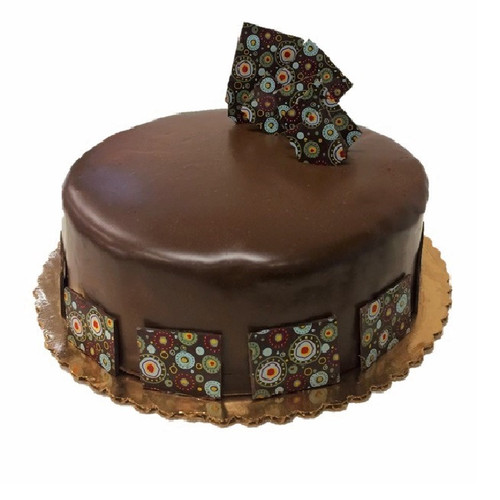 """10"""" Chocolate Mousse Cake decorated with color patterned chocolate ganache squares"""