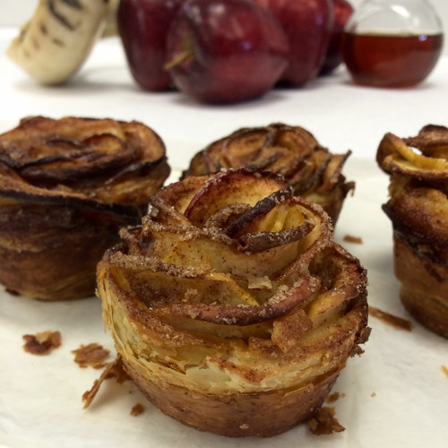 Apple Flower Individual Desserts made with layers of crispy, flaky pastry and slices of fresh Apples.