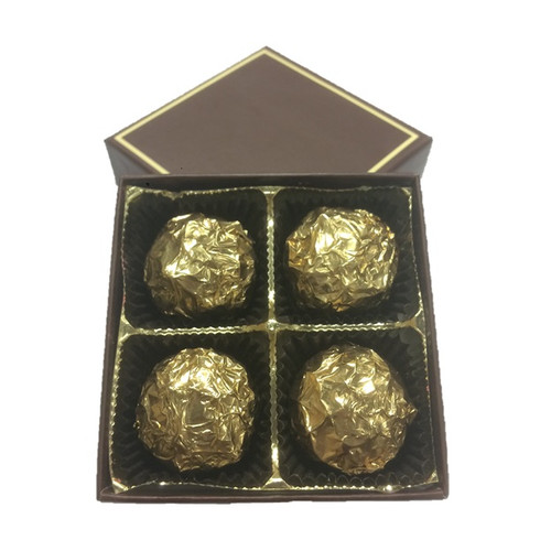 Open Truffle Gift Box holding 4 Double Nut Praline chocolate truffles.