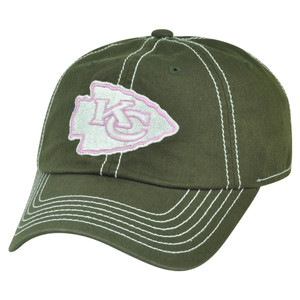 NFL Kansas City Chiefs Hillary Women Ladies Garment Wash Buckle Slouch Hat Cap