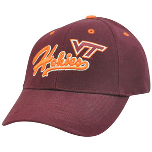 NCAA Virginia Tech Hokies Curved Bill Adjustable Velcro Script Construct Hat Cap