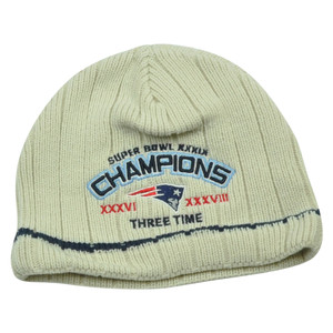 NFL New England Patriots Stark 3 Time Super Bowl Champions Cuffless Knit Beanie