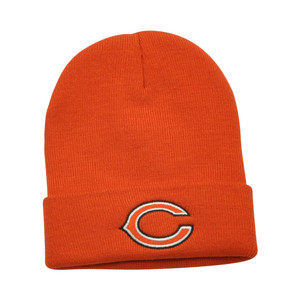 NFL Chicago Bears Rice Cuffed Knit Beanie Toque Orange Hat Football Winter Warm