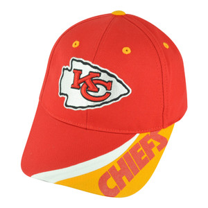NFL Kansas City Chiefs Teton Velcro Football Adjustable Curved Bill Hat Cap
