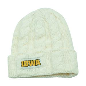 NCAA Iowa Hawkeyes Keira Women Cuffed Crochet Beanie Knit Ladies Winter Hat