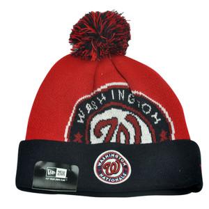 MLB New Era Washington Nationals Woven Biggie 2 Cuffed Beanie Pom Warm Knit Hat