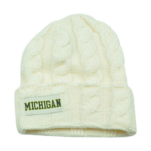 NCAA Michigan Wolverines Keira Women Cuffed Crochet Beanie Knit Ladies Winter