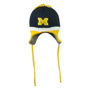 NCAA Michigan Wolverines Ear Flap Beacon Striped Tassel Peruvian Beanie Knit Hat