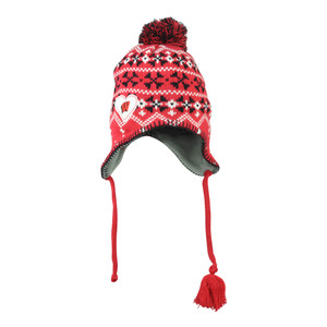 NCAA Wisconsin Badgers Freda Knit Pom Women Tassel Beanie Toque Red Hat Peruvian
