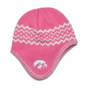 NCAA Iowa Hawkeyes Chalet Ear Flap Toddler Girls Knit Beanie Toque Hat Pink