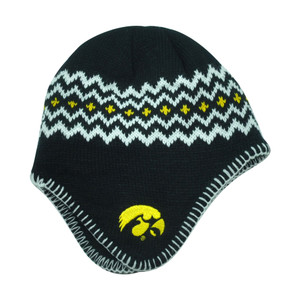 NCAA Iowa Hawkeyes Chalet Ear Flap Toddler Boys Knit Beanie Toque Hat Black